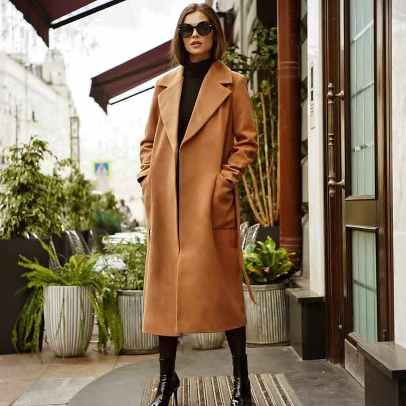 Кашемировое осенне-зимнее шерстяное пальто женское средней длины Новое корейское темпераментное женское популярное шерстяное пальто MX17D9636