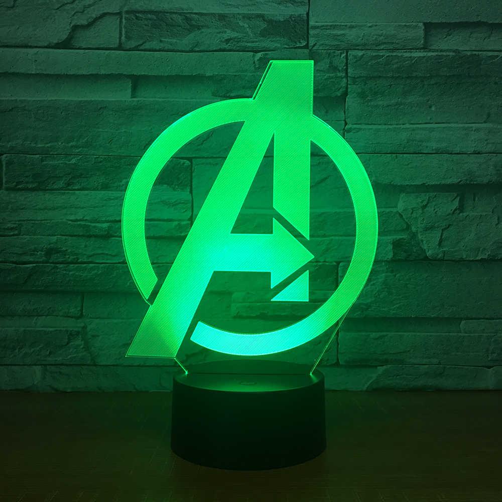 VIP Прямая поставка супергероев Человек-паук Тор Молоток Черная пантера значок светодиодный светильник Железный человек Капитан Америка Щит 3D светодиодный светильник 5 В лампа