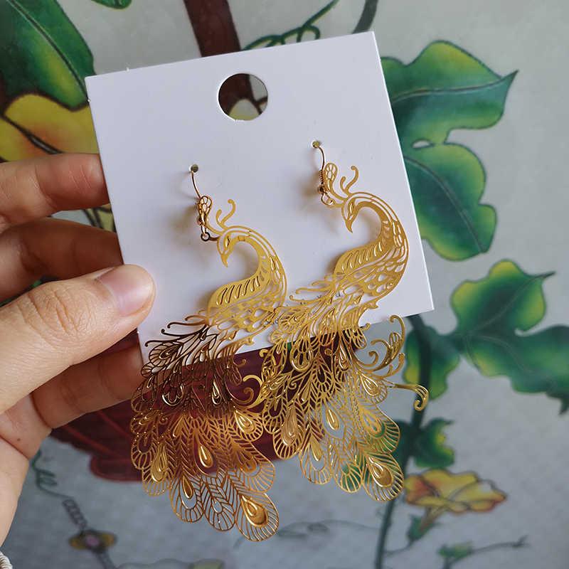 Estilo chinês personalidade exagero metal pavão phoenix balançar brincos moda simples menina feminino jóias acessórios