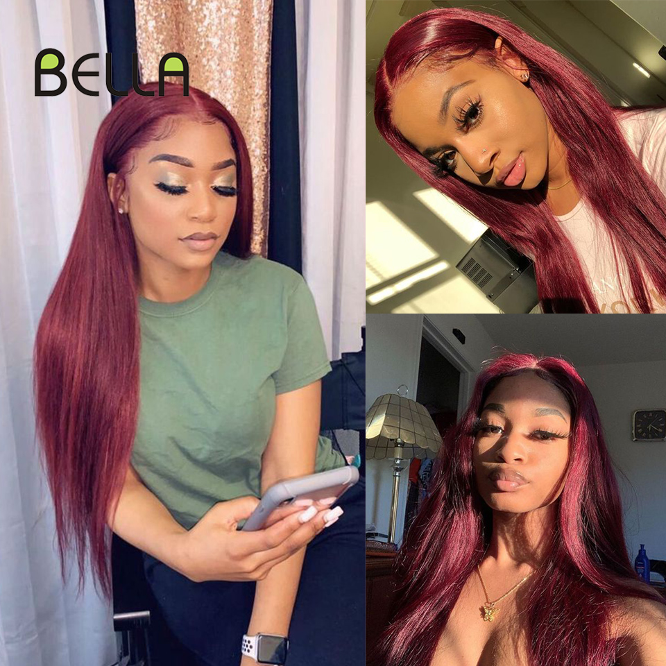 Lace Front Wig Synthetic Blonde Lace Front Wig Red Burgundy Black Mixed Brown Straight Hair 27 Inch Wigs For Women Cosplay Wig
