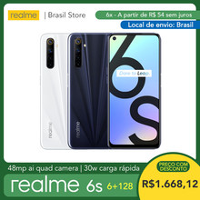 [Local de envio: Brasil!] realme 6s 6gb 128gb-mtk helio g90t | 4300mah bateria | 48mp ai quad camera | 30w carga rápida