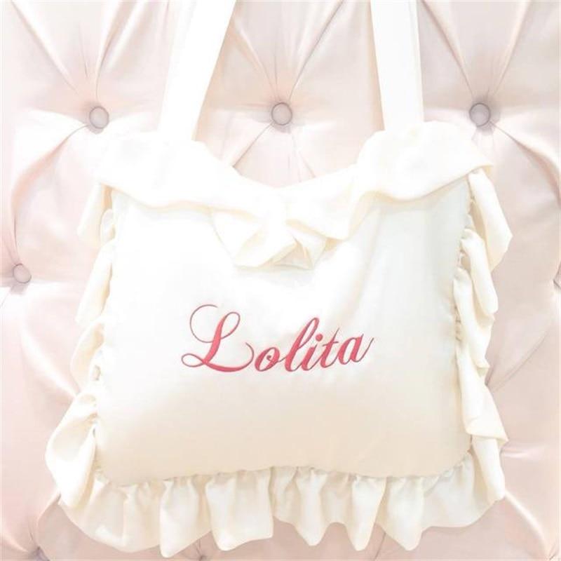 Sweet Cute Lolita 3 Colors Harajuku Ruffles Pillow Bag Dream Shoulder Bag Japanese Anime Cosplay Women's Handbags School Bag| |   - title=