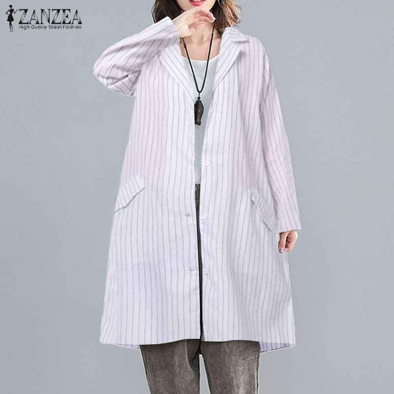 Zanzea 2019 Thời Trang Blusas Nữ Áo Sơ Mi Sọc Thu Đông Lưng Áo Phông Nữ Cotton Túi Áo Thun Áo 7