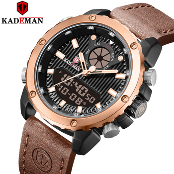 KADEMAN Men Watches Dual Movement Luxury Brand LED Digital Quartz Sports Waterproof Leather Strap Male Wrist Relogio Masculino mens watches to luxury brand men leather sports watches kademan men s quartz led digital clock waterproof military wrist watch