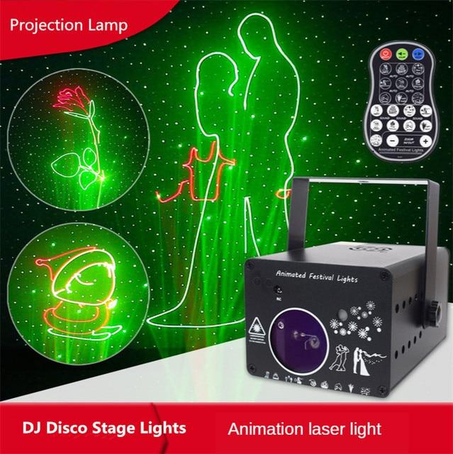 3D laserowa lampa projektora Rgb kolorowe Dmx 512 skaner projektor Party Xmas Dj pokaz Disco światła sprzęt muzyczny parkiet taneczny LED