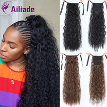 AILIADE Long Synthetic Afro Kinky Curly Ponytail Hair Pieces Ribbon Clip on Ponytail Fashion Hair Extensions Gold Black Brown(China)