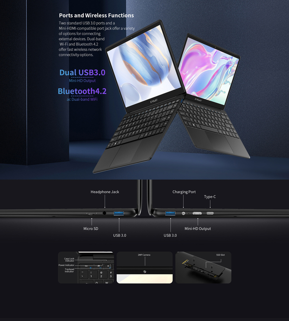 """Newest Teclast F6 Laptop 13.3"""" FHD IPS 1920x1080 Intel Apollo Lake Windows 10 Laptops 8GB LPDDR4 128GB SSD Notebook 1.28KG 6"""