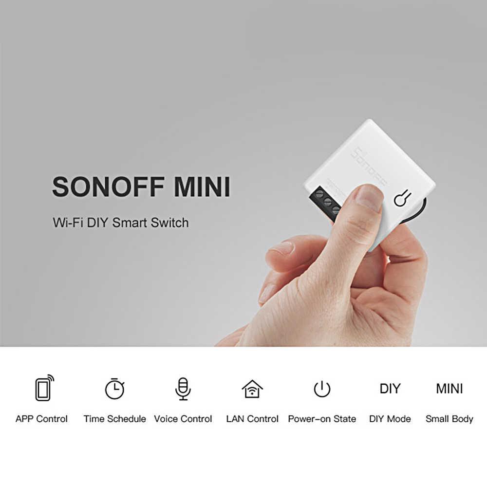 Оптовая продажа 10 шт. SONOFF Профессиональный умный мини двухходовой Интеллектуальный переключатель мини и компактный светодиодный светильник переключатель AC100-240V 10А