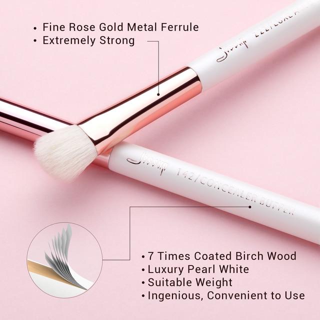 Jessup Professional Makeup Brushes Set 15pcs Pearl White/Rose Gold Eye Shadow Make up Brush Eye Liner Natural-synthetic hair 5