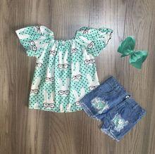 Primavera/estate di Pasqua mint bunny latte superiore di seta pantaloncini di jeans del bambino delle ragazze dei bambini vestiti di cotone ruffles boutique set partita arco