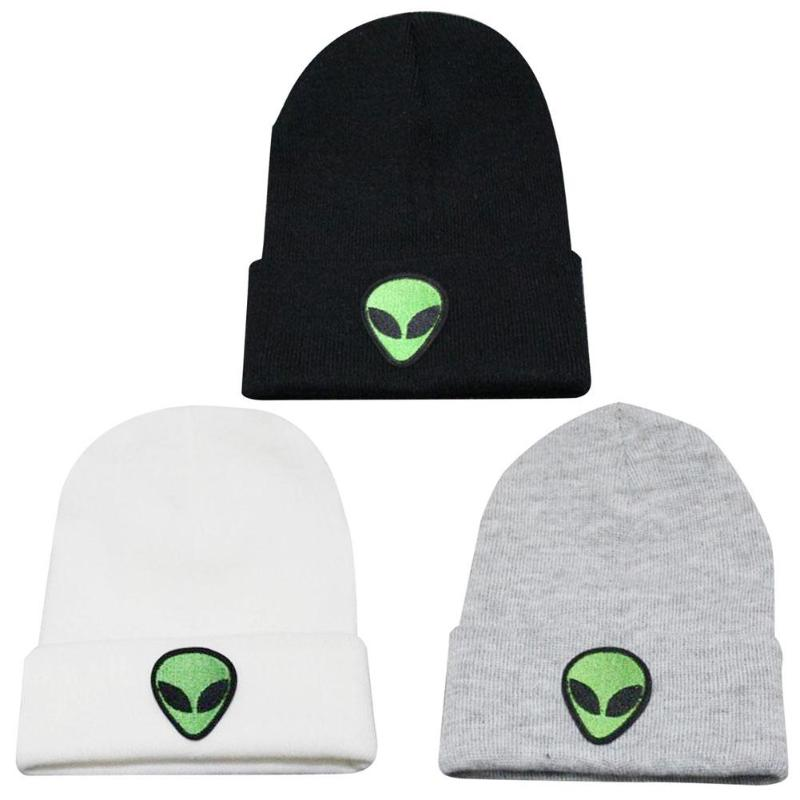 Шапка с вышивкой инопланетянина, зимние мужские и женские шапки с манжетами, мягкие однотонные облегающие шапки в стиле хип-хоп, унисекс