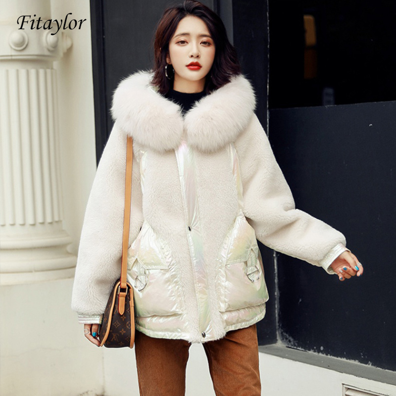 Fitaylor New Women Natural Fox Fur Coat Duck Down Jacket Bright Side Hooded Parkas Female Wool Patchwork Down Outwear