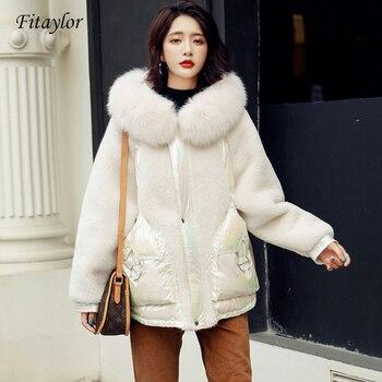 Fitaylor nouveau manteau de fourrure de renard naturel pour femmes veste en duvet de canard