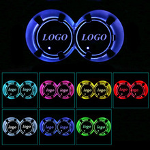 1Pair Colorful LED Car Cup Bottle Holder Pad Mat for Scion Auto Coasters Interior Atmosphere Lights