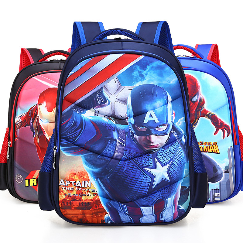 Marvel Captain America Iron Man Spiderman Student Backpacks 3D Cartoon nylon waterproof school bag Teenager bag