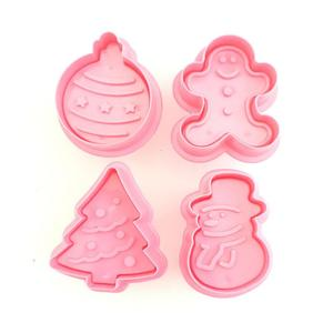 Cake Mold HOT 3D Xmas Cookie Biscuit Hand Stamp Press Plunger Mould 4pcs Cookie Cutter Baking & Pastry Tools For Kitchen Gadgets
