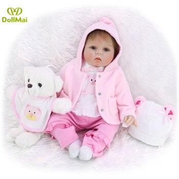 Lifelike bebe reborn pink bear doll toys very  22inch soft silicone reborn baby doll gift for child boneca reborn