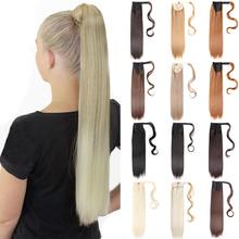 Mtmei Hair Long Straight Clip In Ponytail Hair Extension Wrap Around Ponytail Synthetic Fake Pony Tail Hairpiece Wavy For Women