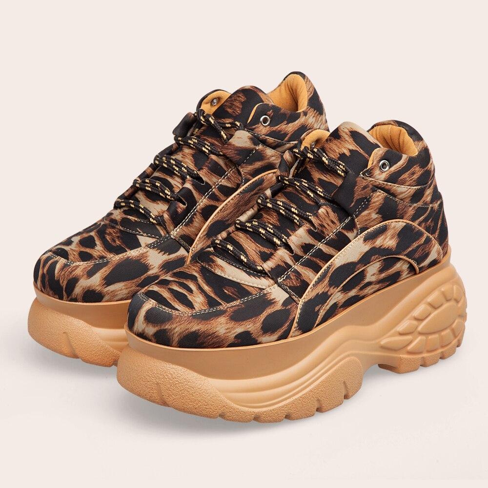Кроссовки на платформе с леопардовым принтом; модель 2019 года; сезон весна осень; женская повседневная обувь на массивном каблуке; женская обувь на платформе из лайкры; женские кроссовки