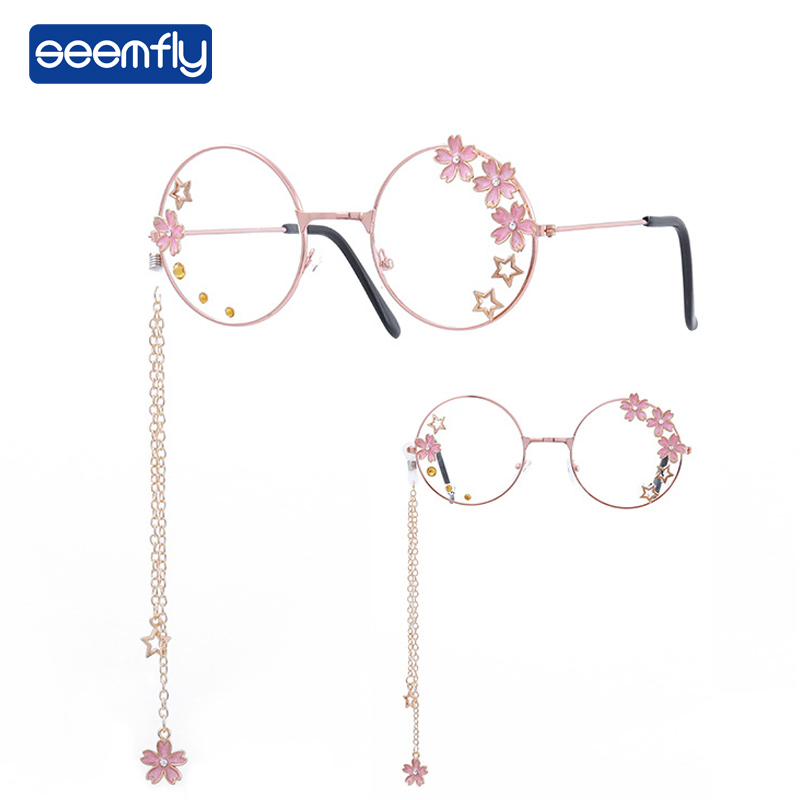 Seemfly Women Glasses Frames Sakura Star Pendant Glasses  Clear Lens Glasses Metal Frame Designer New Decorative Glasses