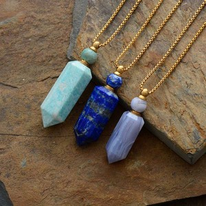 Image 3 - Tự nhiên đá quý đá Khuếch Tán Tinh Dầu Lọ Nước Hoa Mặt Dây Chuyền vòng cổ trang sức inox Dropshipping