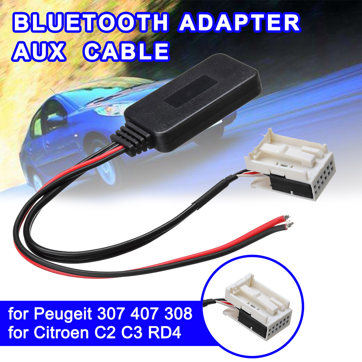 12Pin bluetooth Module Wireless Radio for Peugeot 207 307 407 308 for Citroen C2 C3 RD4 Car Stereo AUX-IN Aux Cable Adapter
