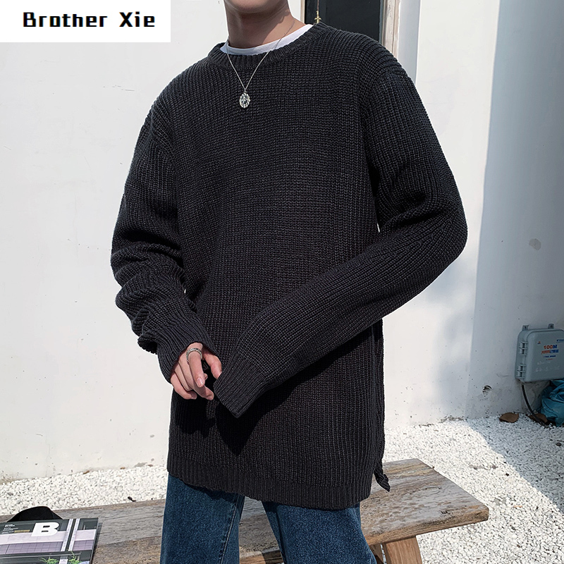 Winter Sweater Men's Warm Fashion Solid Color Casual Knit Pullover Man Sweter Clothes Loose Long-sleeved Sweater Male Clothes