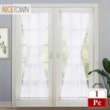 NICETOWN, Белая французская дверная занавеска, элегантная однотонная вуаль, французская дверная драпировка, занавеска, цельная с бонусом, Tieback