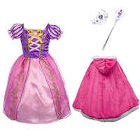 Girls Rapunzel Princess Dress kids Summer Floral Costume With Bow wig Children Halloween Birthday Party Cosplay Dress