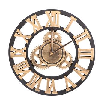 Sprzęt przemysłowy zegar ścienny dekoracyjny zegar ścienny zegar ścienny w stylu industrialnym (30cm złoty transport bez baterii) tanie i dobre opinie CN (pochodzenie)