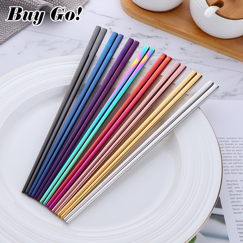1 pair Sushi Chopsticks 304 stainless steel Food Grade Square Chinese Silver Metal Chopstick Reusable Chop Stick Kitchen Tools