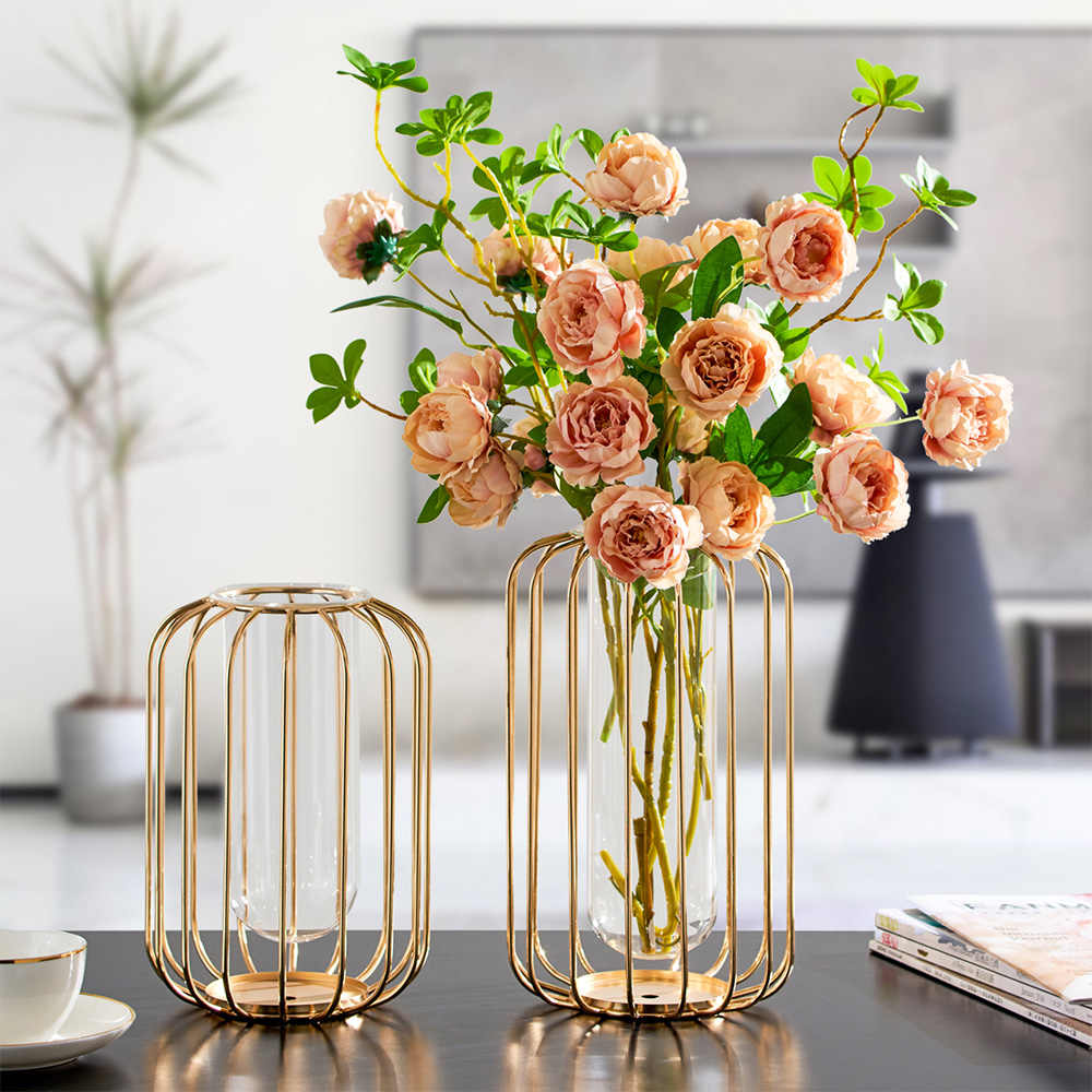 Golden Metal Glazen Buis Vaas Creative Art Thuis Woonkamer Bloem Stand Decoratie Home Decor Golden Metalen Vaas Terrarium Decor Vazen Aliexpress