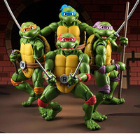 15CM Creative Cartoon Ninja Classic Turtle Doll Leo Raph Mike Don Movable Model PVC Action Figures Kids Toys Collection