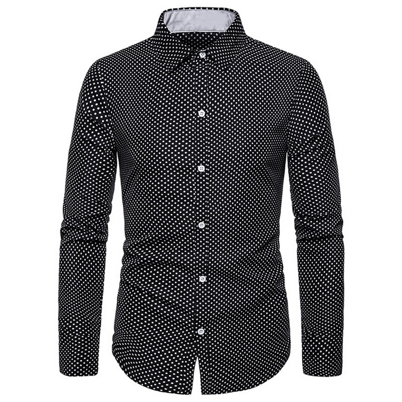 HEFLASHOR <font><b>Shirt</b></font> Male 2019 Long Sleeve <font><b>Men</b></font> <font><b>Polka</b></font> <font><b>Dot</b></font> <font><b>Shirt</b></font> Casual High Quality Business Man <font><b>Shirt</b></font> Slim Fit Designer Dress <font><b>Shirt</b></font> image