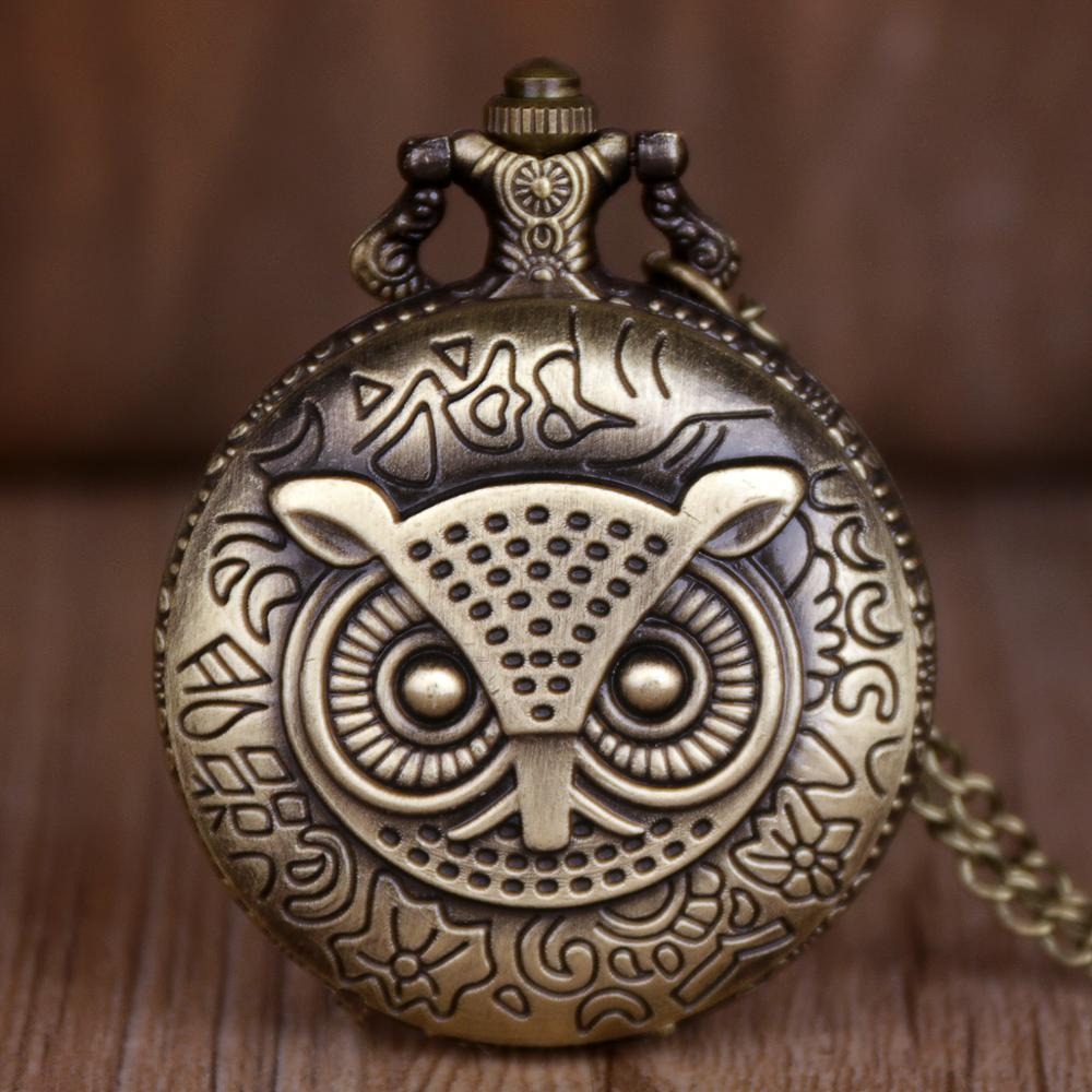 Cat Design Quartz Men Watches Necklace Vintage Bronze Design Antiuqe Necklace Fob Chain Pocket Watch For Mens Clock Relogio Gift