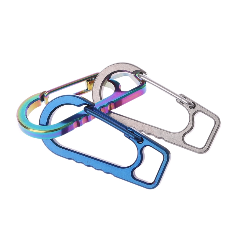 Titanium Alloy EDC Outdoor Keychain Carabiner Camping Hiking Spring Buckle Hook A6HC Suit For Camping