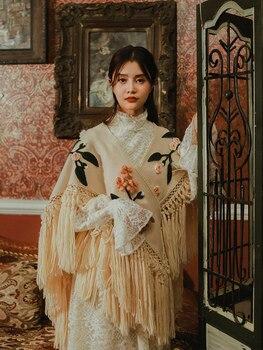 Женская винтажная вязаная накидка vadim, винтажная накидка с кисточками и цветком, осень 2020