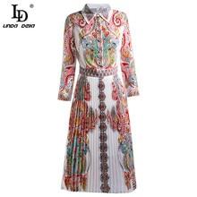 Elegant Summer Fashion Runway Women Dress Geometric Print Lapel Bohemian Ladies Pleated Midi Dresses Vestoidos