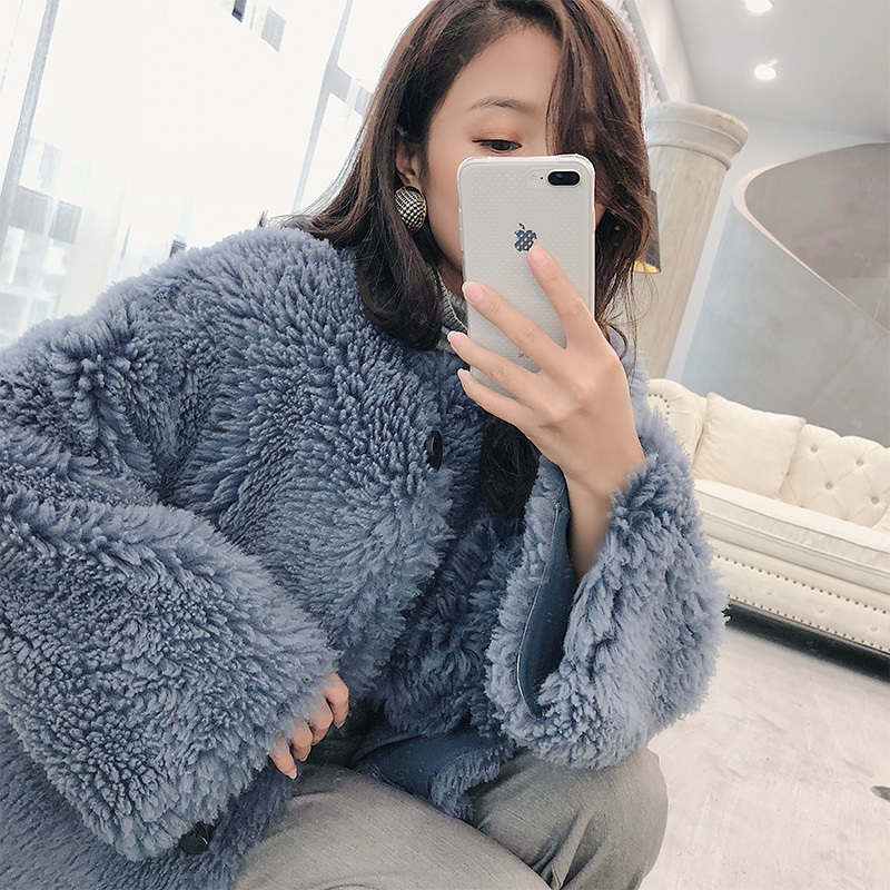 Geunine Fur Coats Women Furry Lamb Fur Coat Winter Warm Thick Jackets 2020 Top Quality Luxury Jacket 17165 MF308