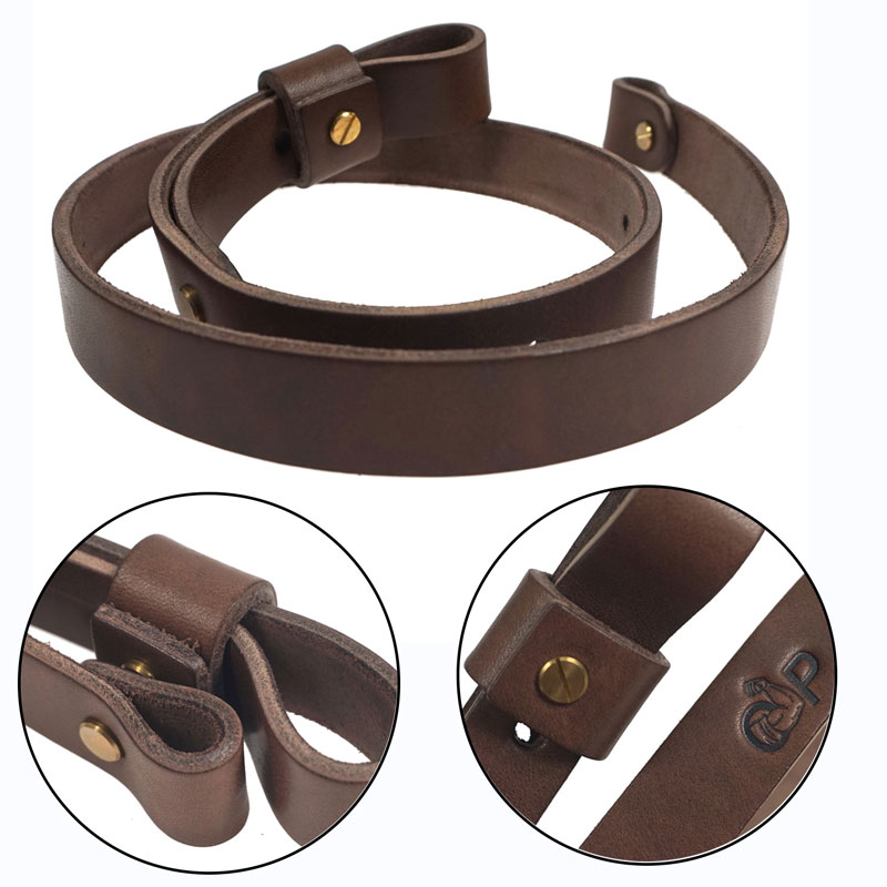 Shotgun Rifle Sling Strap Cow Hide Leather With Mil-Spec Swivels Durable Adjustable Shoulder Strap Belt Hunting Gun Accessories