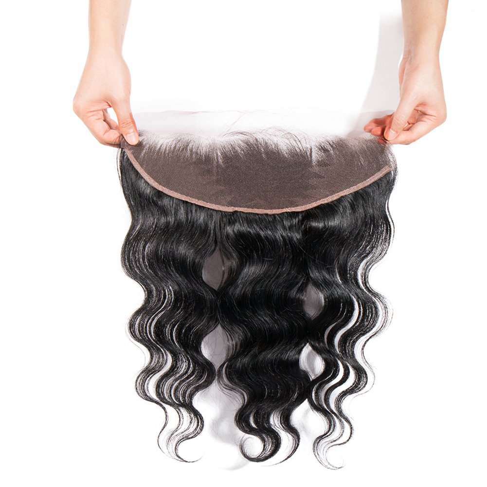 """Eseewigs Free Part Ear To Ear 13x4""""Full Frontal Lace Closure Body Wave With Baby Hair Brazilian Remy Human Hair Frontal Closures"""