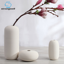 Strongwell Nordic Ceramic White Vase Decoration Simple Flower Arrangement Living Room Coffee Table Home