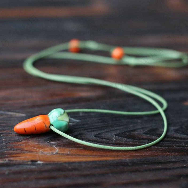 C149 BIGBING fashion jewelry ceramic Carrot ceramic Pendant black chain Necklace wholesale jewelry Free shipping