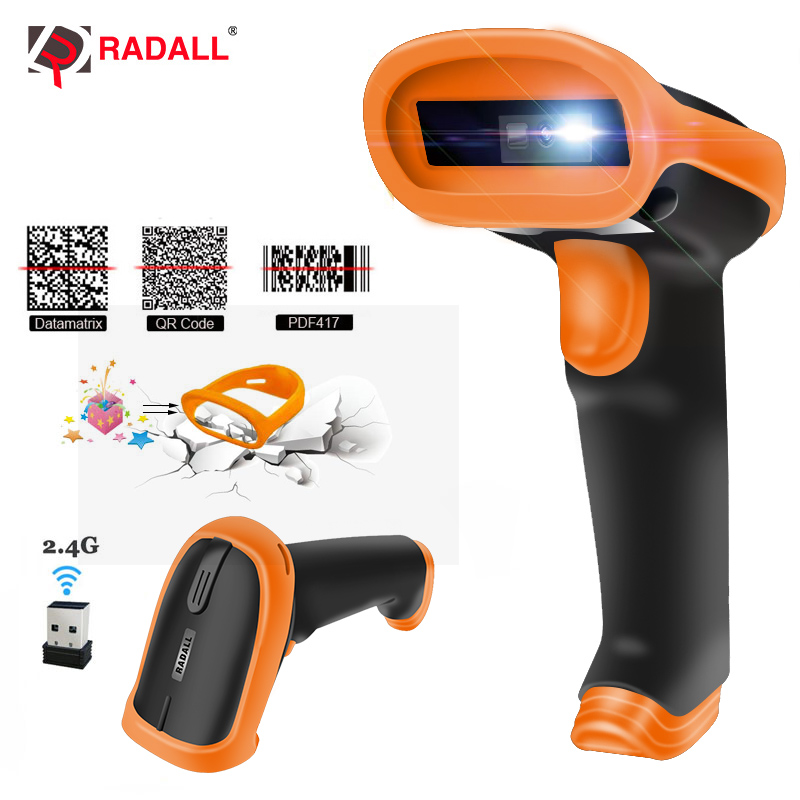 RADALL Wireless Barcode Scanner Wired bar code Scanner Handheld 1D/2D QR Bar Code Reader for Inventory POS Terminal