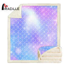 Miracille Mermaid Scale Blanket Sherpa Fleece Cartoon Rainbow Blanket Fashion Microfiber manta advken manta tank