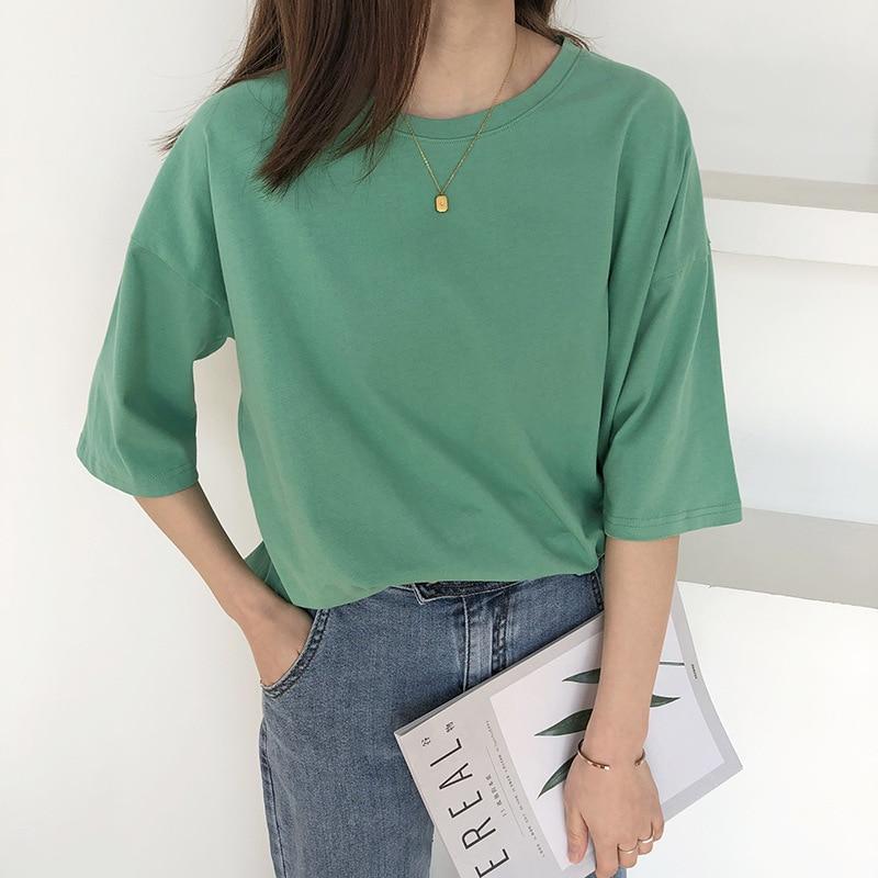 2020 Women Summer Pure Color Split Hem T Shirts O-Neck Women Half Sleeve Cotton T Shirt Harajuku Tops For Women Summer Tees