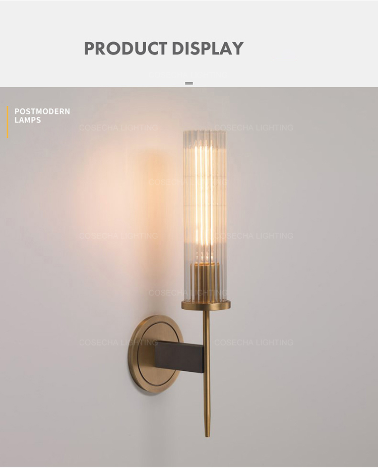 Hc4f97705806e44b89ca42d13d00a45a9r - Antique brass wall lamp glass cylinder shade home indoor decorative wall lights in bedroom bedside wall mounted sconce interior