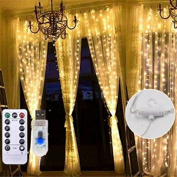 Hada Led Cadena de luz función de memoria Navidad Garalnd Led 3*3m 300 Led cortina de hielo lámpara Diwali boda casa luces de interior