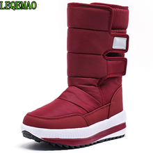 2020 thick snow boots waterproof round toe winter shoes flat platform woman ankle