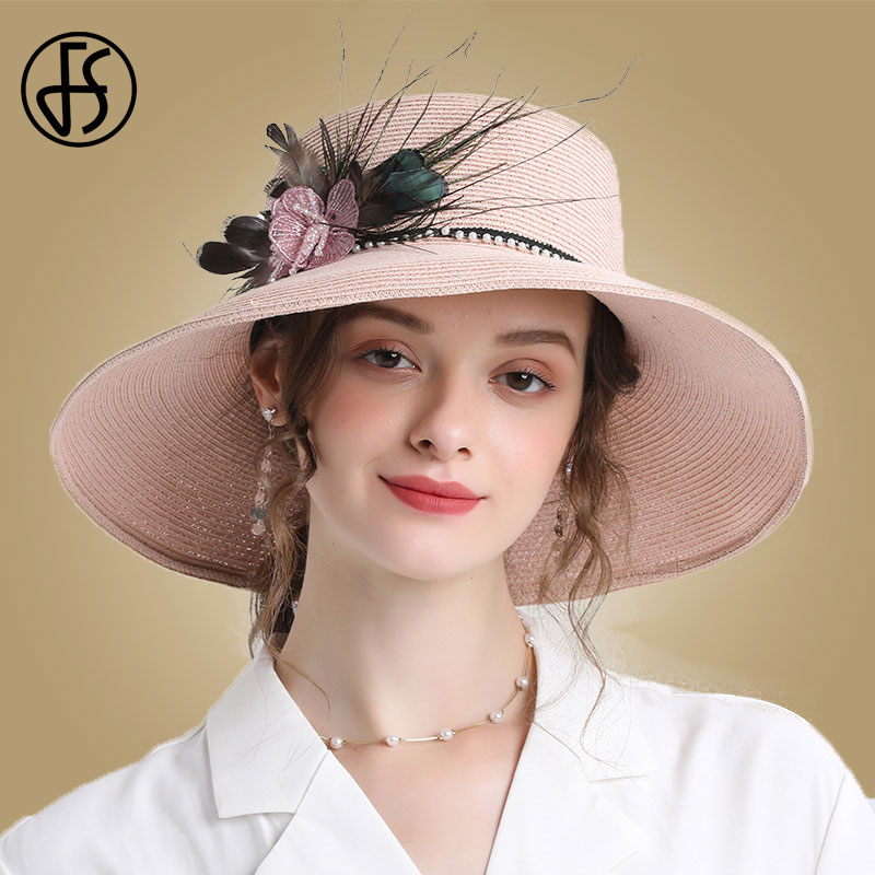 FS Womens Sun Hats Wide Brim Beach Straw Hat With Feather Pink Flowers Big Panama Caps Female Foldable Chapeu Feminino
